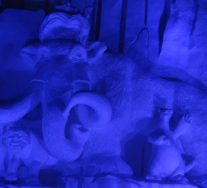 An impressive snow sculpture of your favorite ice age characters
