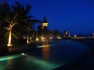 The pool and beach at night